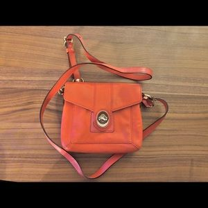 Coral Coach leather cross body bag